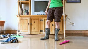 Woman cleaning mold from her North Carolina home after a flood